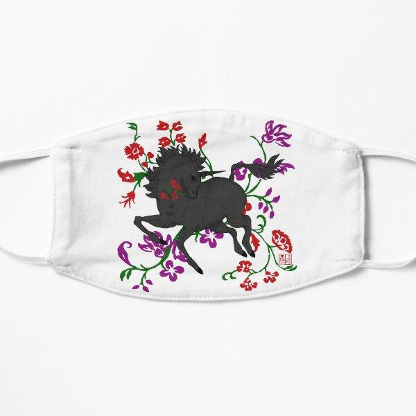 Goth Fantasy Black Unicorn Horse in Flowers Mask