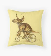 Tricycling Triceratops. Throw Pillow