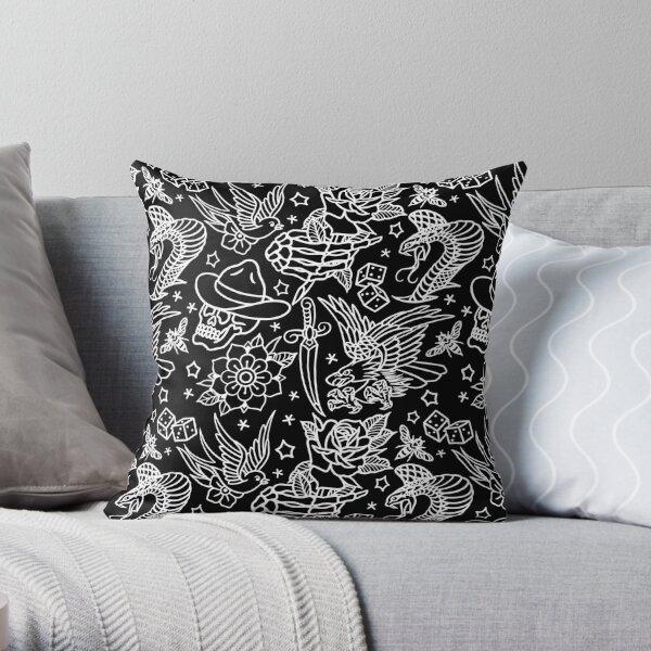 American Traditional Tattoo Flash Print  Throw Pillow