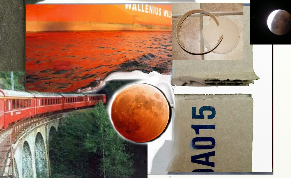 Red Train A015 Collage painting by Tom Golden