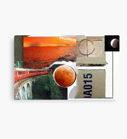 Red Train A015 Collage painting Canvas Print