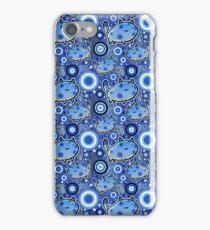 Blue Cartoon Cat Pattern iPhone Case/Skin