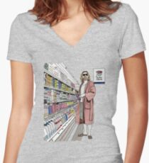 Jeffrey Lebowski and Milk. AKA, the Dude. Women's Fitted V-Neck T-Shirt