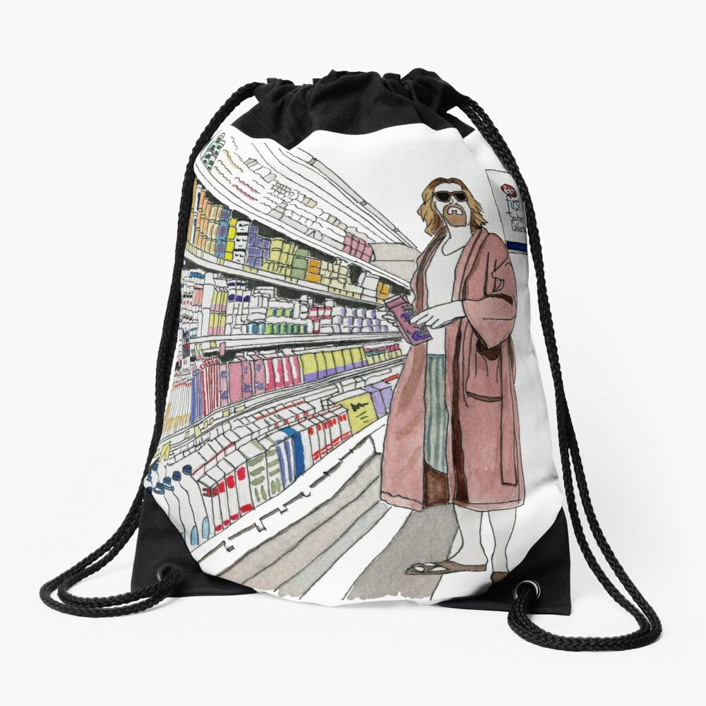 Jeffrey Lebowski and Milk. AKA, the Dude. Drawstring Bag