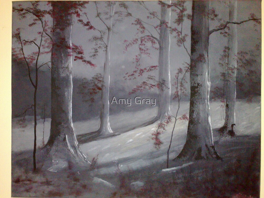 Autumn trees at night by Amy Gray