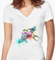 Hirondelle Women's Fitted V-Neck T-Shirt