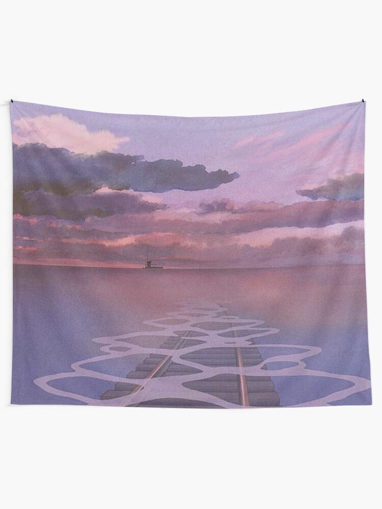 Alternate view of Spirited Away Railroad Nighttime Aesthetic Tapestry