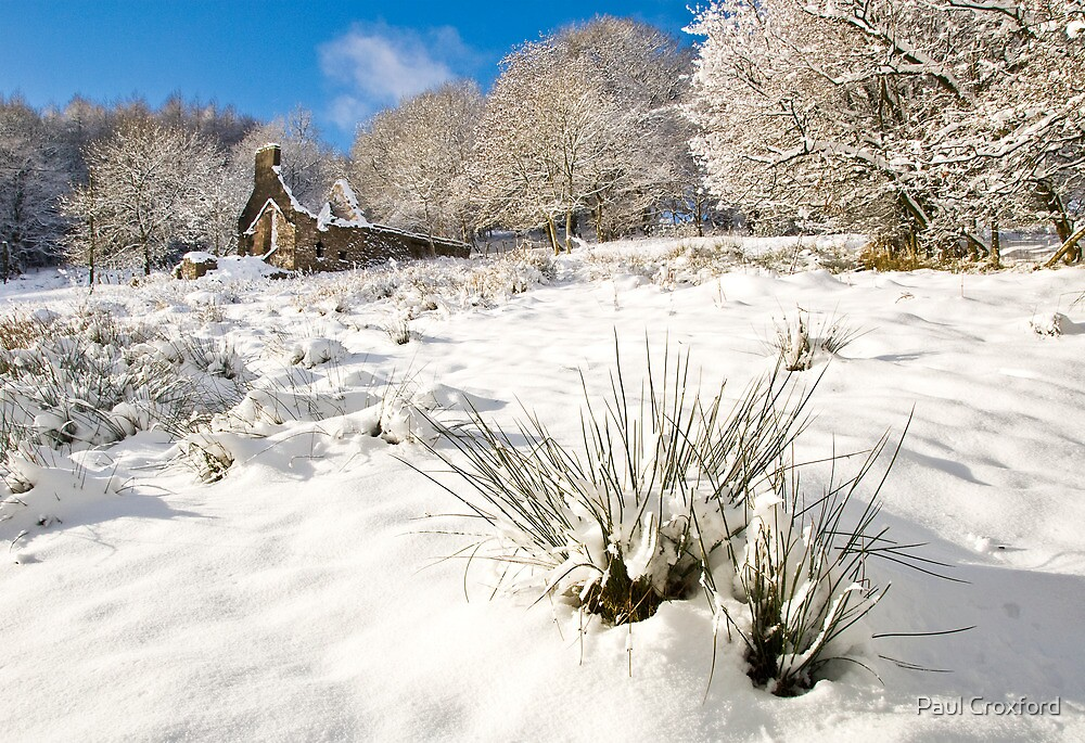 Mynydd Maen Ruin in Snow 03 by Paul Croxford