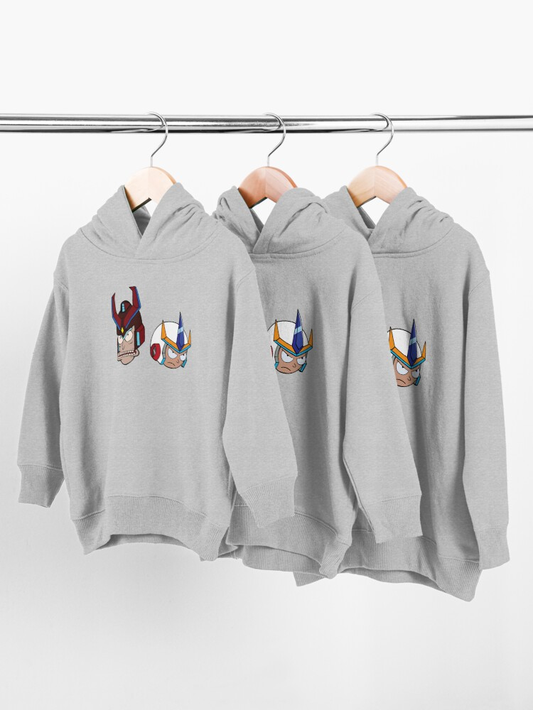 Alternate view of Super Cool Rick and Morty™ Heads with Combat Armour Helmet  Toddler Pullover Hoodie