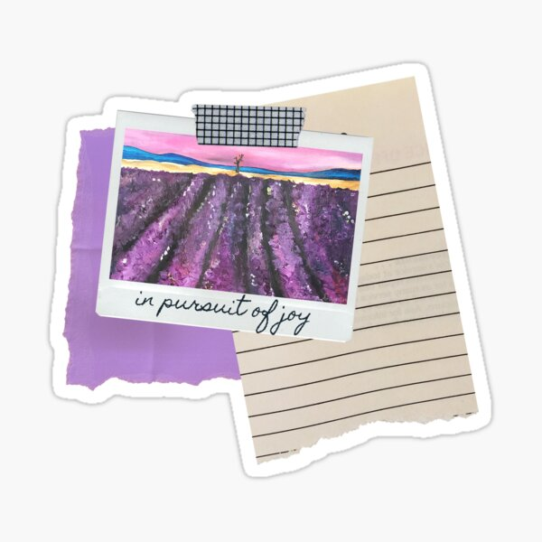 In Pursuit of Joy Purple Painting Lavender Fields Motivational Inspirational Quote Sticker
