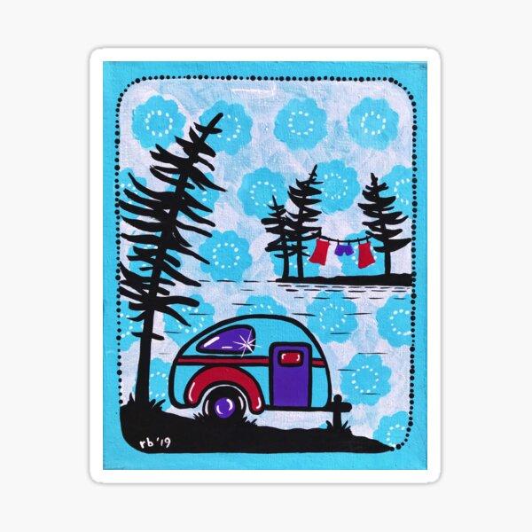 Vintage Happy Camper in Blue Sticker