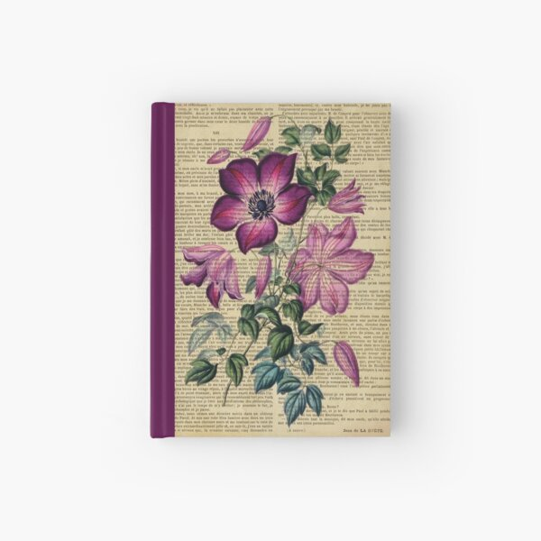 Botanical print, on old book page - clematis Hardcover Journal
