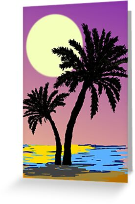 Palm Trees and Moonlight by pamdicar