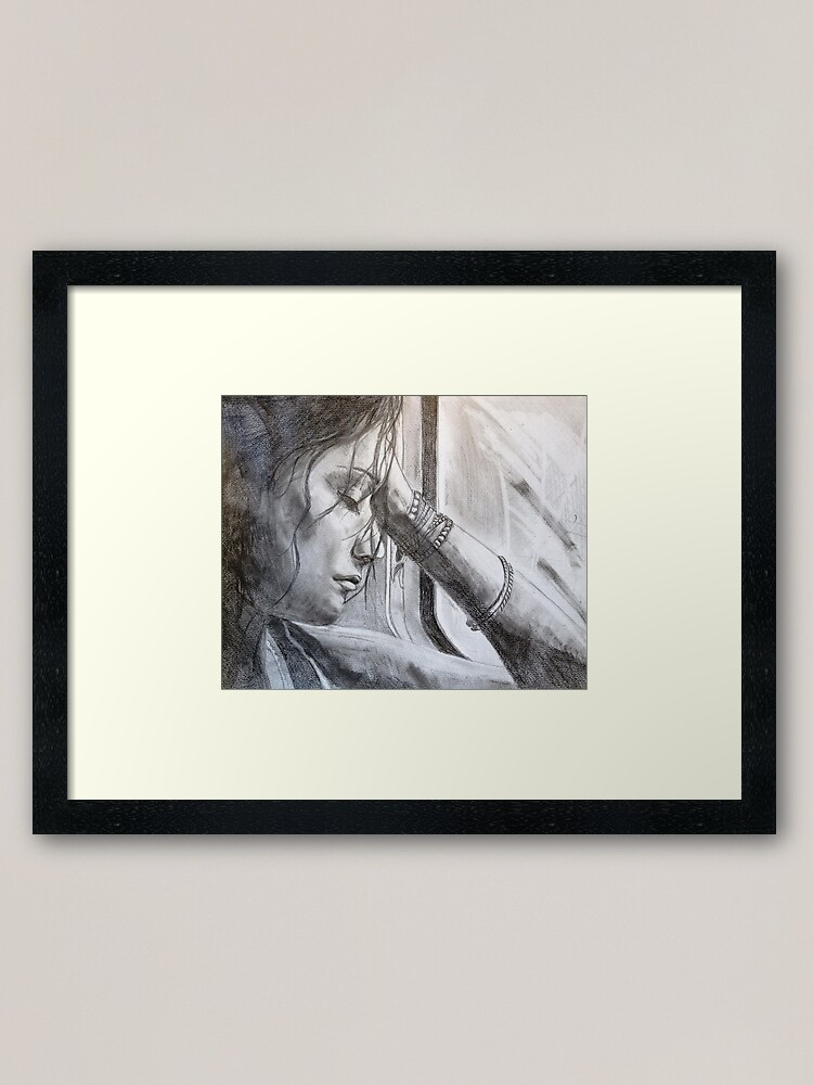 Alternate view of a long ride home - drawn Framed Art Print