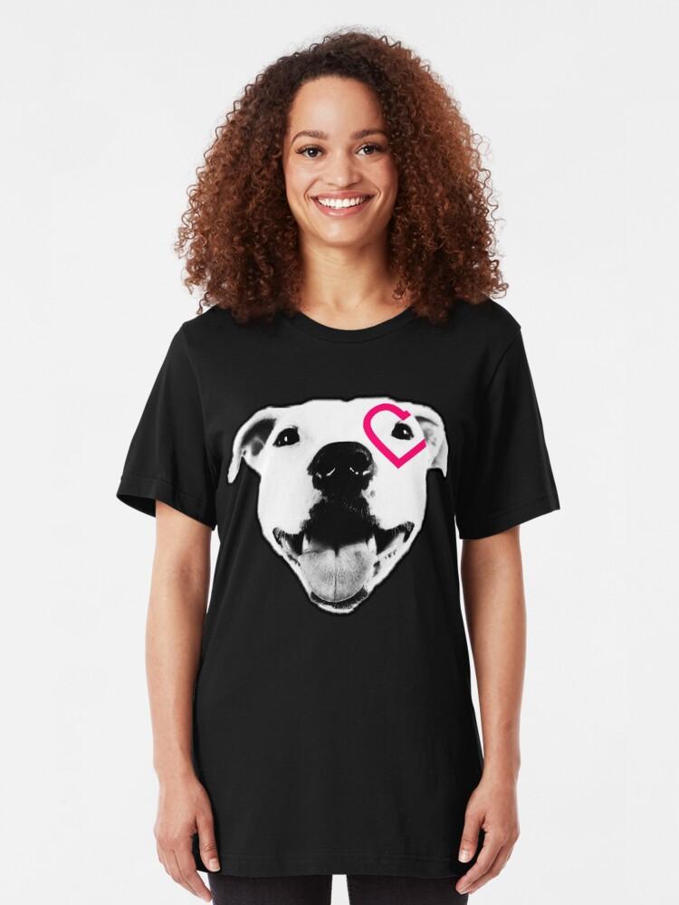 Alternate view of Heart over eye Pittie Slim Fit T-Shirt