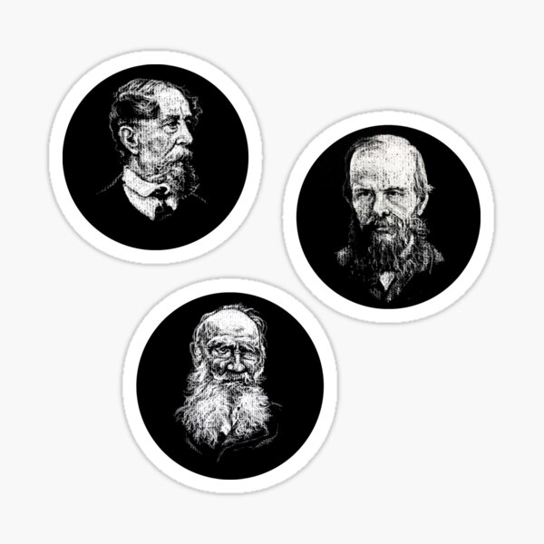 Three Great Authors (Dickens, Dostoevsky, Tolstoy) in Circles! Sticker Sheet Sticker