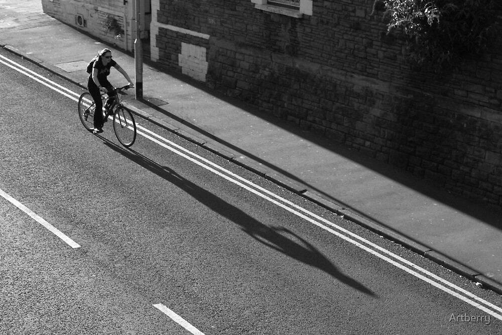 Girl on a Bicycle BW by Artberry
