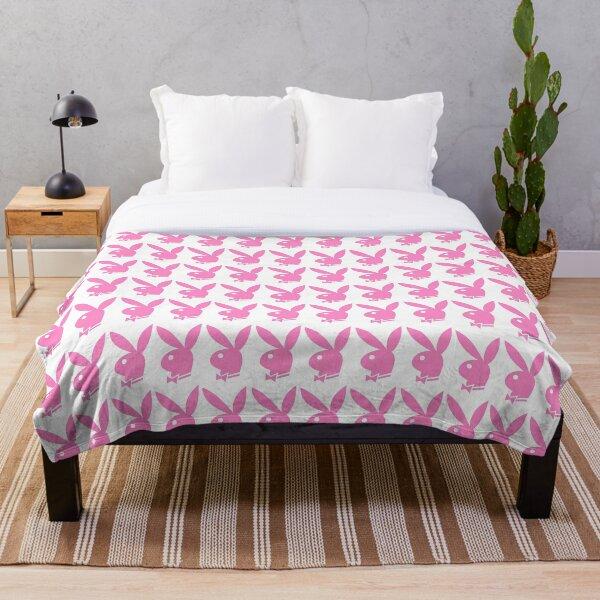 Pink Playboy Bunny Pattern  Throw Blanket