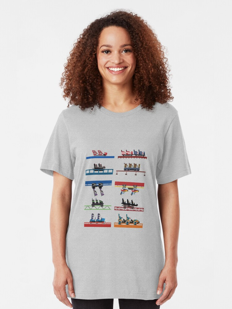 Alternate view of Six Flags Over Georgia Coaster Cars Design Slim Fit T-Shirt