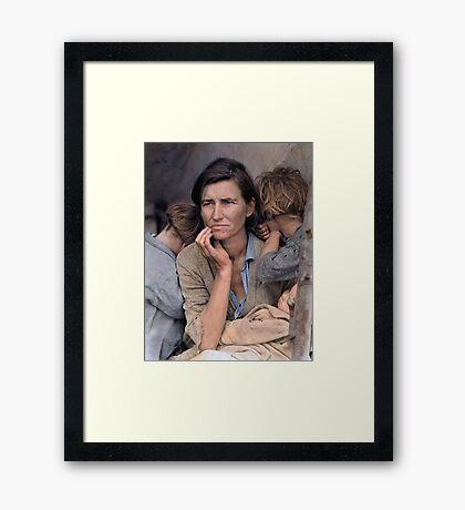 Colorized  - Migrant Mother by Dorothea Lange Framed Print
