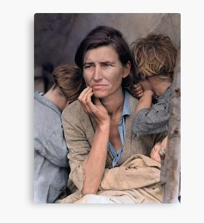 Colorized  - Migrant Mother by Dorothea Lange Canvas Print