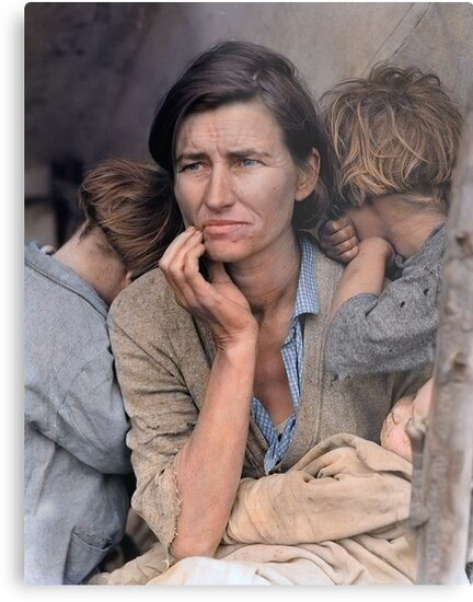 Colorized  - Migrant Mother by Dorothea Lange by Sanna Dullaway