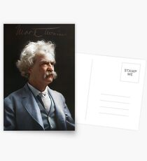 Colorized  - Mark Twain / Samuel L Clemens with signature Postcards