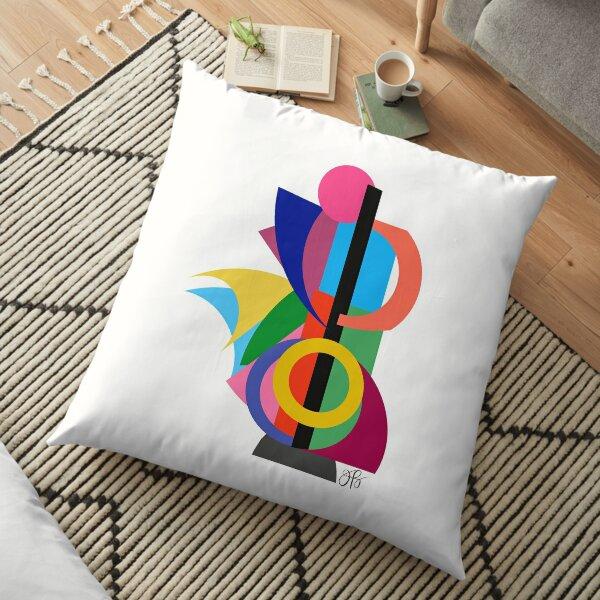 Abstract Cello Player Floor Pillow
