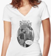 Leave it to Romney b&w Women's Fitted V-Neck T-Shirt