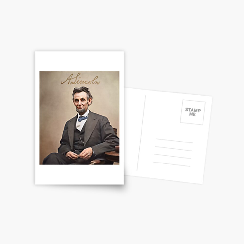 Colorized  - Abraham Lincoln with Signature Postcard