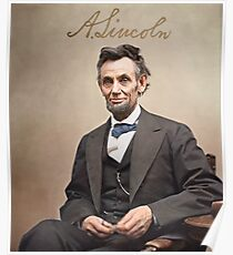 Colorized  - Abraham Lincoln with Signature Poster