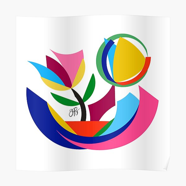 Abstract Flower Dish Poster