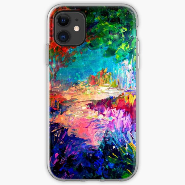 WELCOME TO UTOPIA Bold Rainbow Multicolor Abstract Painting Forest Nature Whimsical Fantasy Fine Art iPhone Soft Case