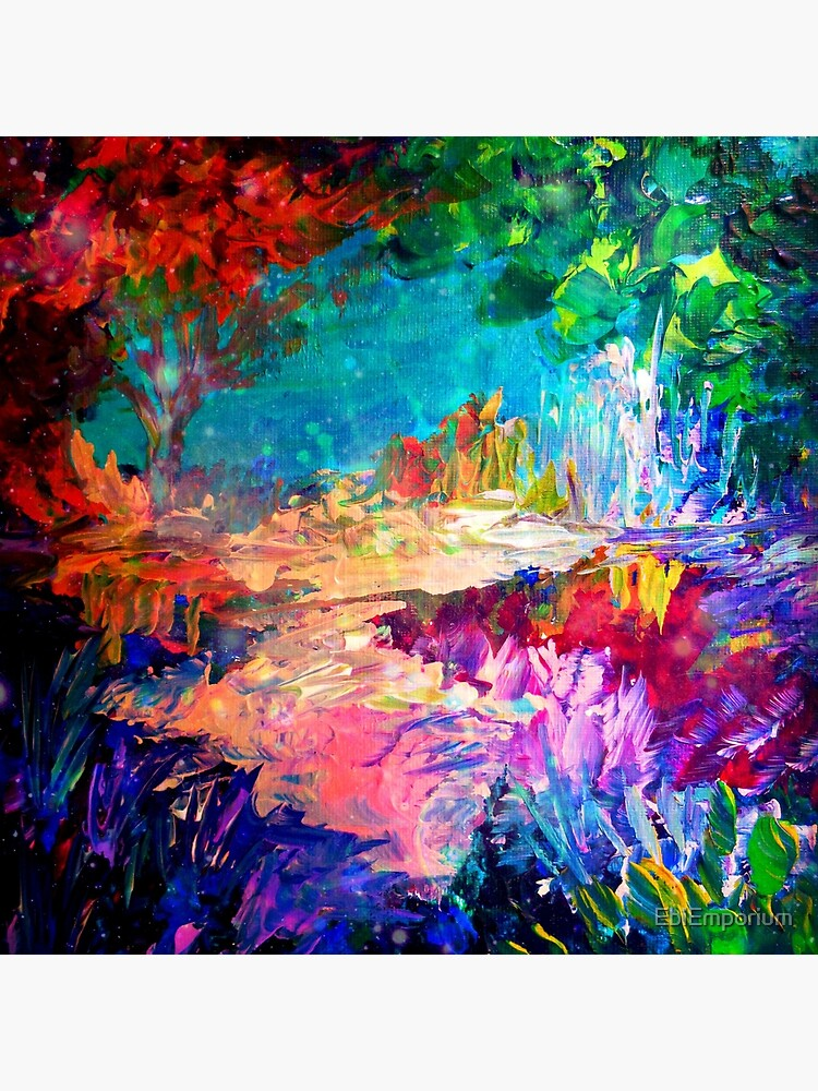 WELCOME TO UTOPIA Bold Rainbow Multicolor Abstract Painting Forest Nature Whimsical Fantasy Fine Art by EbiEmporium