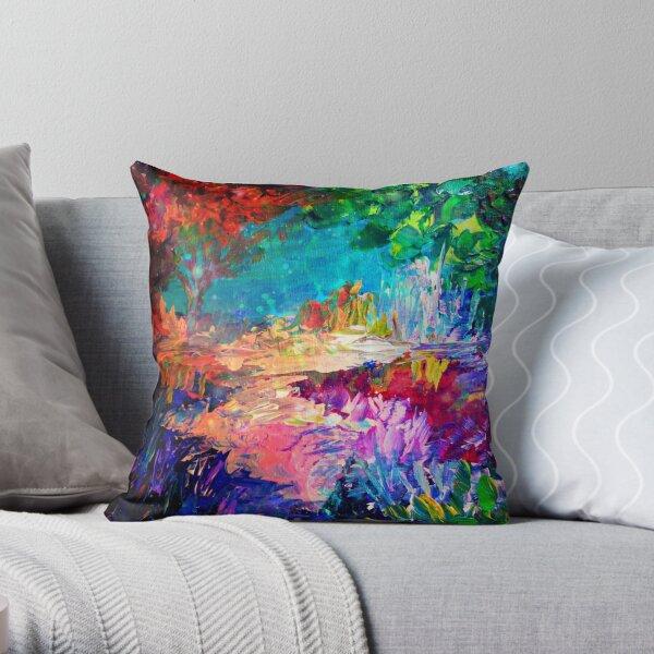 WILLKOMMEN BEI UTOPIA Bold Rainbow Multicolor abstrakte Malerei Wald Natur skurrilen Fantasy Fine Art Dekokissen