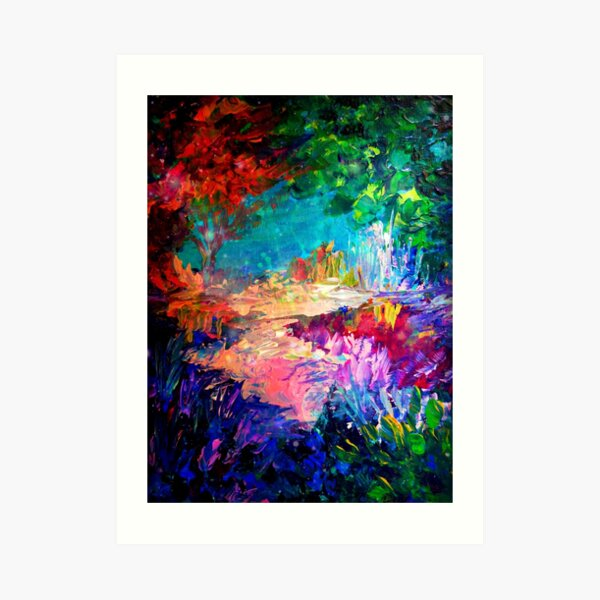 WELCOME TO UTOPIA Bold Rainbow Multicolor Abstract Painting Forest Nature Whimsical Fantasy Fine Art Art Print