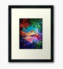 WELCOME TO UTOPIA Bold Rainbow Multicolor Abstract Painting Forest Nature Whimsical Fantasy Fine Art Framed Print