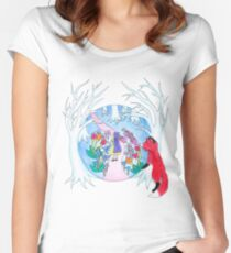 Girl in Fantasy Forest Women's Fitted Scoop T-Shirt