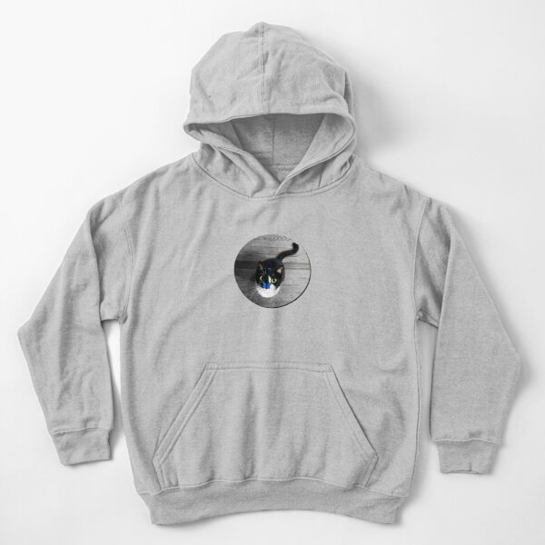 Tuxedo Cat with Blue Butterfly Kids Pullover Hoodie