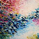 PARADIES-TRÄUMEN Bunte Pastell-abstrakte Kunst-Malerei Textural Pink Blau Weiß Tropical Brushstrokes von EbiEmporium