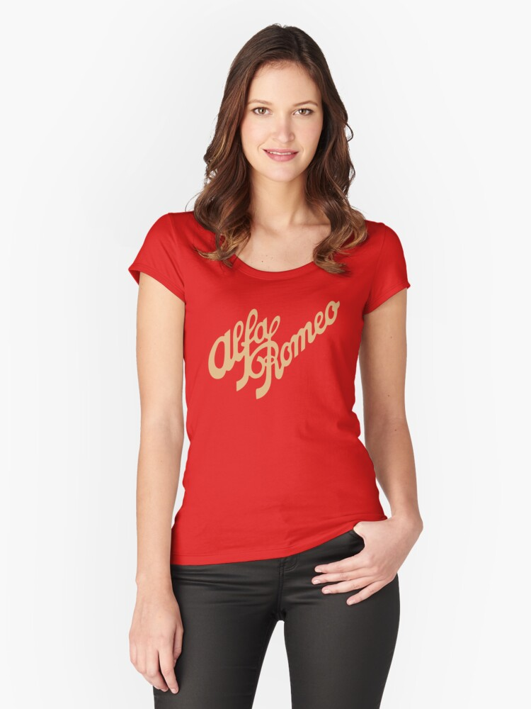 Alfa Romeo script in GOLD Women's Fitted Scoop T-Shirt Front