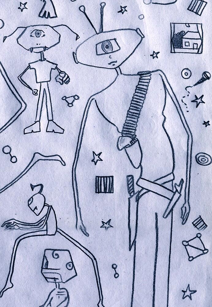 Toilet Paper Design Two - Family Alien by Robert Phillips