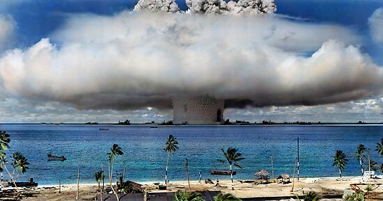 Colorized Operation Crossroads Baker, Bikini Atoll,1946 by Sanna Dullaway