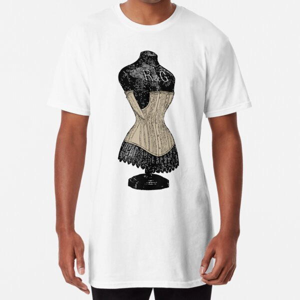 Vintage Corset | Victorian Corset | Corset on Dress Form | Long T-Shirt