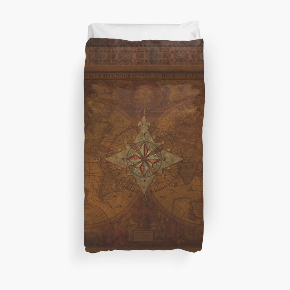 Steampunk Compass Rose & Antique Map Duvet Cover