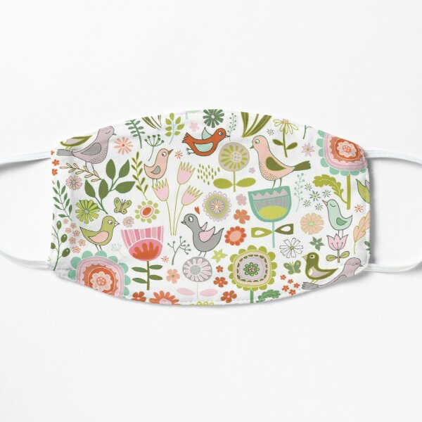 Birds and Blooms - Springtime - Pretty Floral Bird Pattern by Cecca Designs Mask