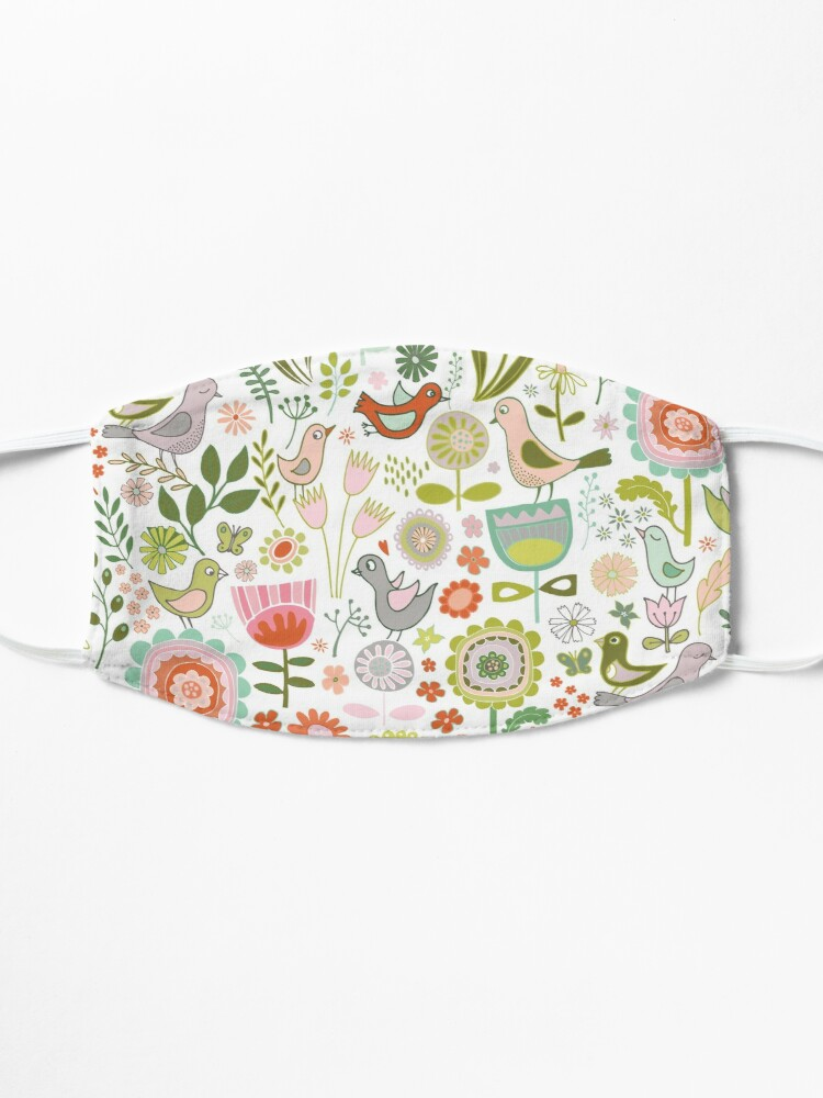 Alternate view of Birds and Blooms - Springtime - Pretty Floral Bird Pattern by Cecca Designs Mask