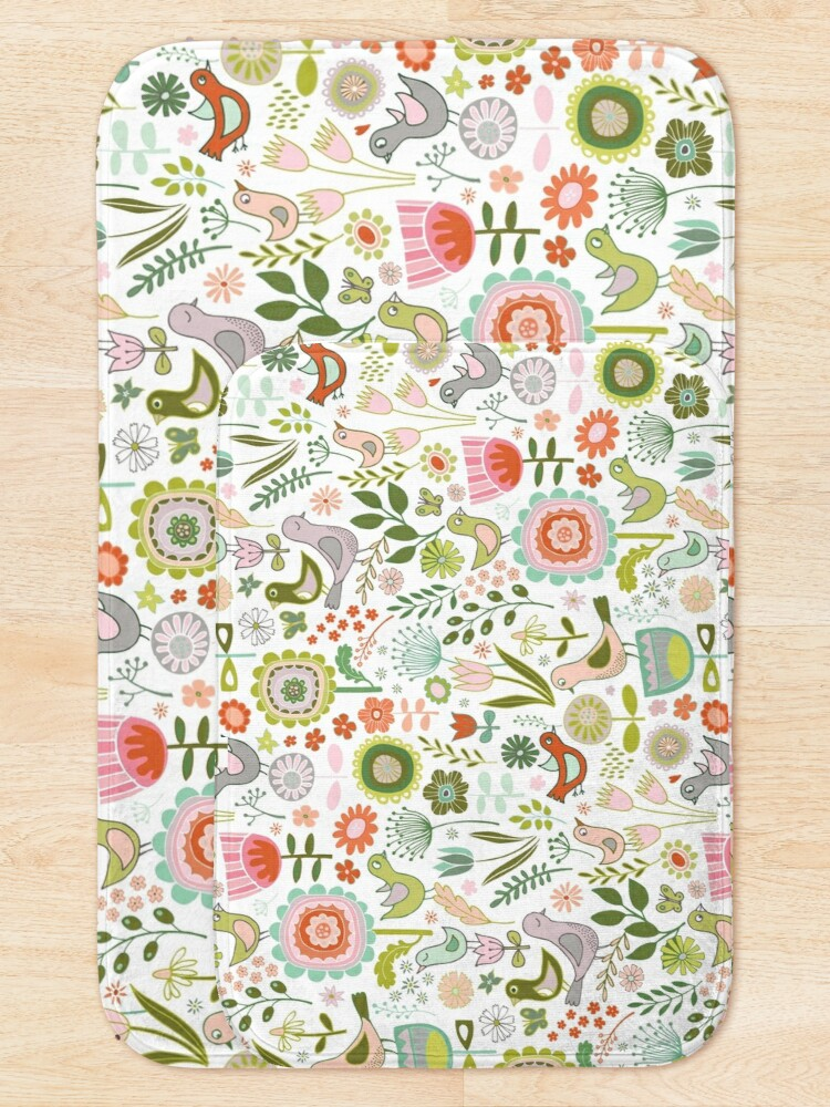 Alternate view of Birds and Blooms - Springtime - Pretty Floral Bird Pattern by Cecca Designs Bath Mat