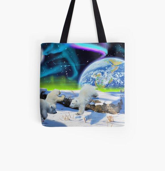 Three Playful Polar Bear Cubs & Aurora Earth Day Art All Over Print Tote Bag