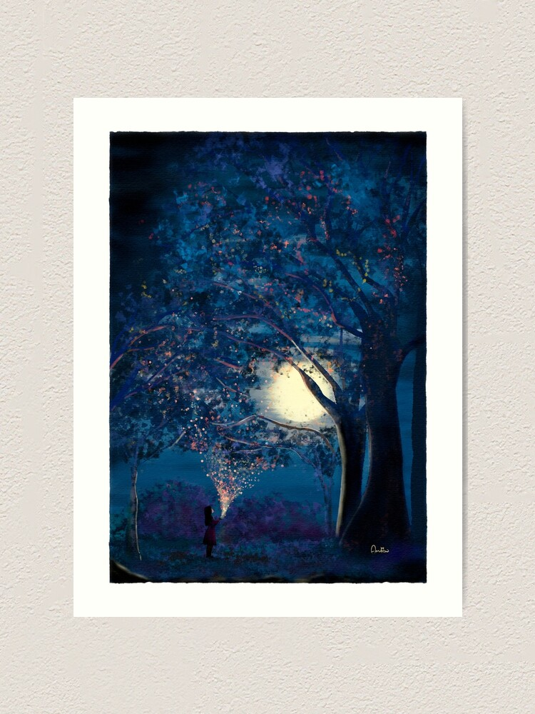 Alternate view of Moonlit Enchanted Woods by Annalisa Amato Art Print